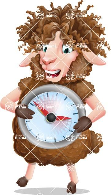 Cartoon Sheep Vector Character - Holding clock