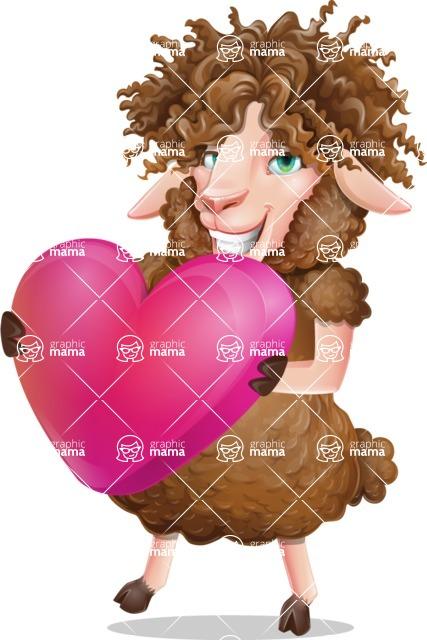 Cartoon Sheep Vector Character - Holding heart
