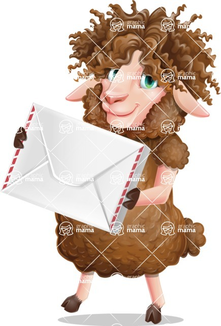 Cartoon Sheep Vector Character - Holding mail envelope