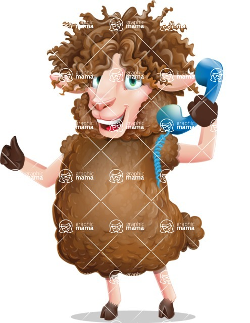 Cartoon Sheep Vector Character - Holding phone with thumbs up