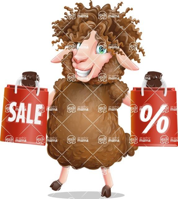 Cartoon Sheep Vector Character - Holding shopping bags