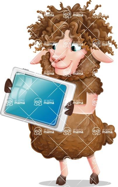 Cartoon Sheep Vector Character - Holding tablet