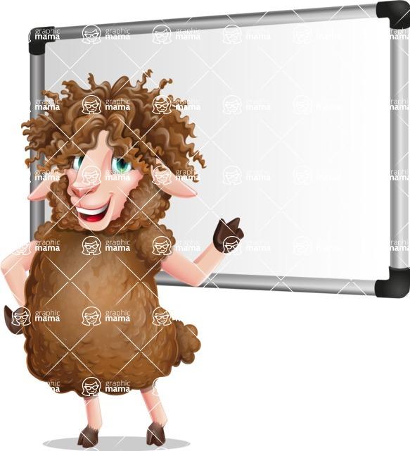 Cartoon Sheep Vector Character - Making a Presentation on a Blank white board