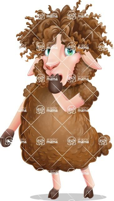 Cartoon Sheep Vector Character - Making Oops gesture