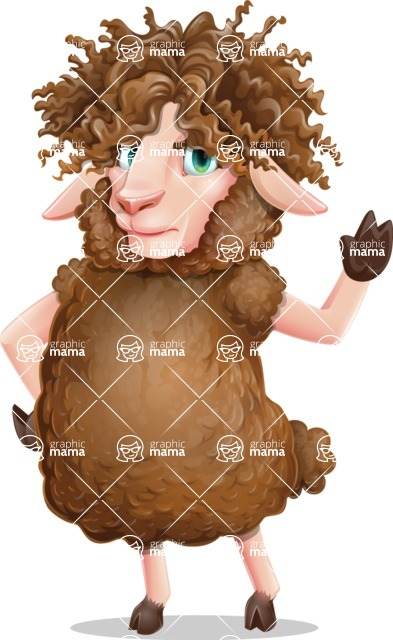 Cartoon Sheep Vector Character - Making stop with a hand