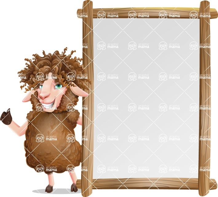 Cartoon Sheep Vector Character - Making thumbs up with Big Presentation board