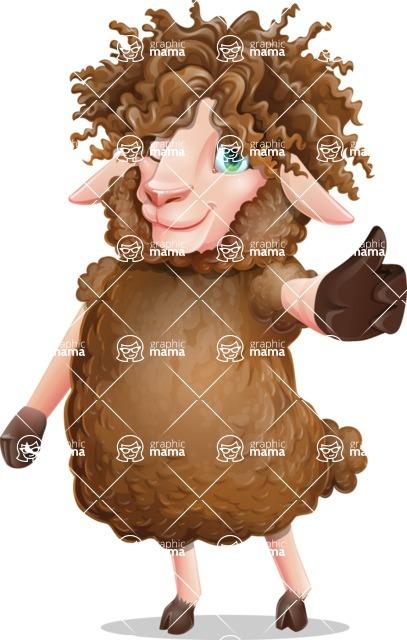 Cartoon Sheep Vector Character - Making Thumbs Up