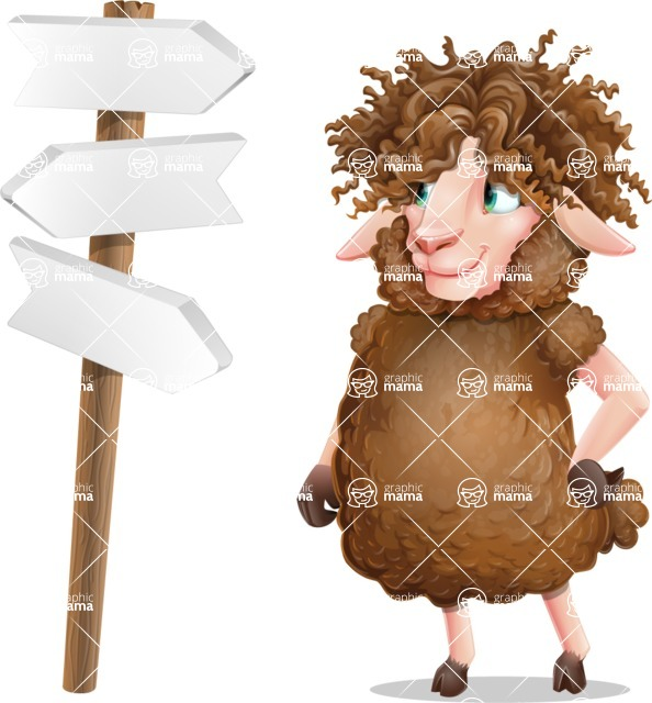 Cartoon Sheep Vector Character - on a Crossroad with sign pointing in all directions