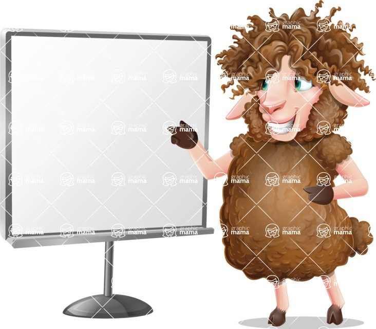 Cartoon Sheep Vector Character - Pointing on a Blank whiteboard