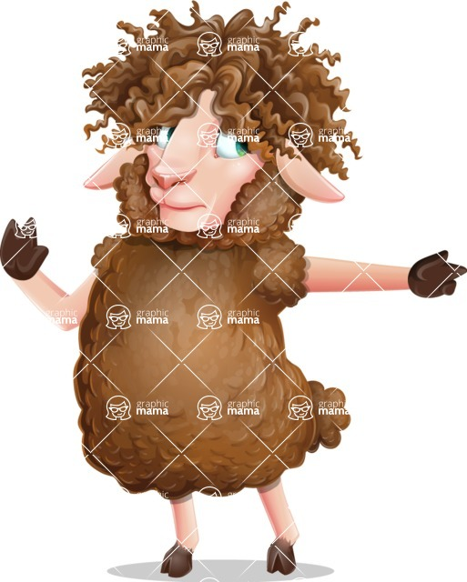 Cartoon Sheep Vector Character - Pointing with a fnger