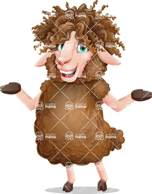 Cartoon Sheep Vector Character - Presenting with both hands