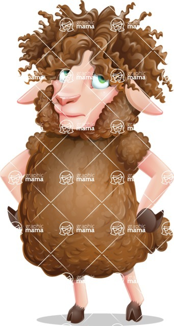 Cartoon Sheep Vector Character - Rolling Eyes