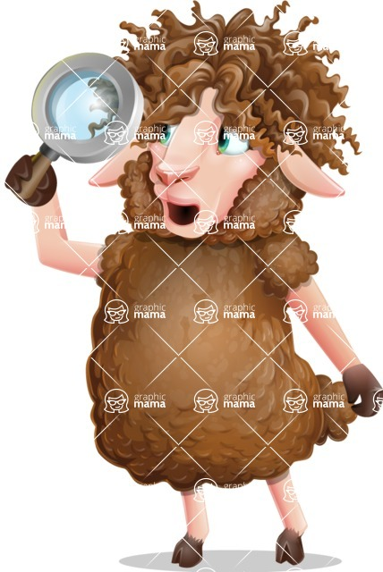Cartoon Sheep Vector Character - Searching with magnifying glass