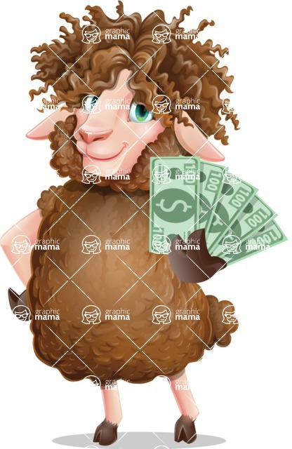 Cartoon Sheep Vector Character - Show me the Money