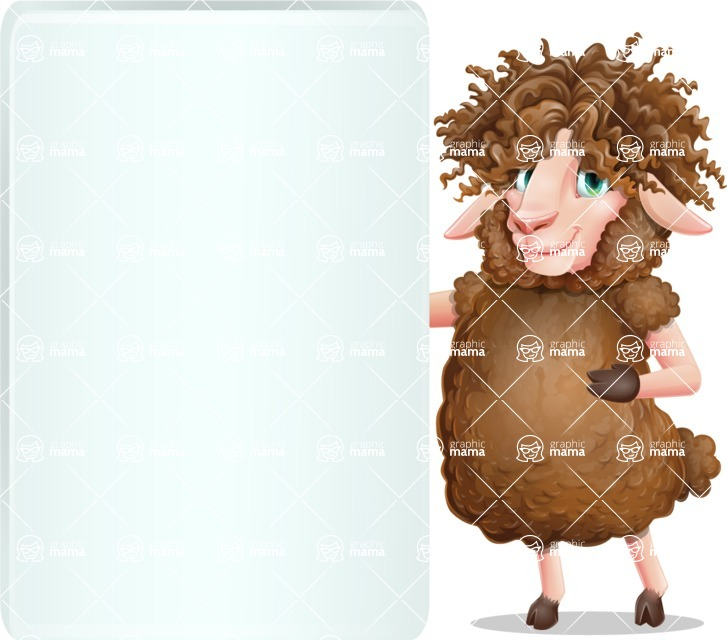 Cartoon Sheep Vector Character - Showing Big Blank banner