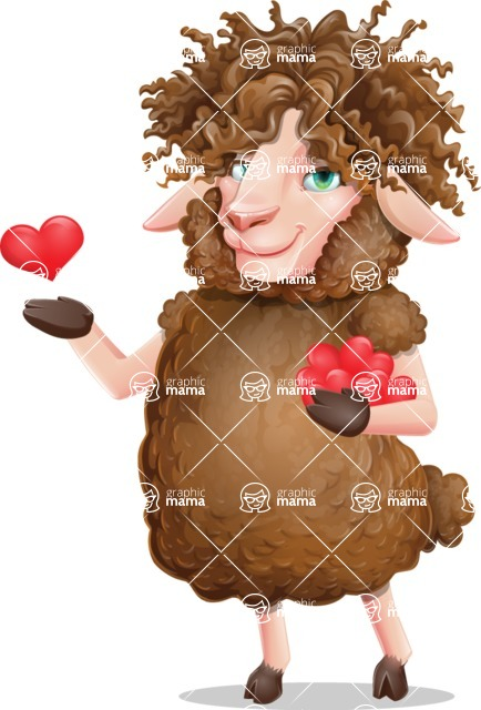 Cartoon Sheep Vector Character - Showing Love