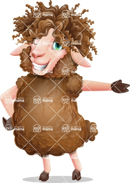 Cartoon Sheep Vector Character - Showing with left hand
