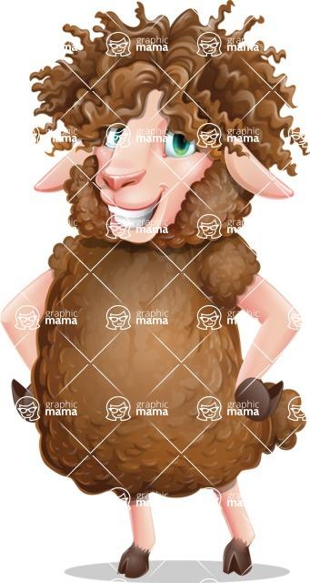 Cartoon Sheep Vector Character - Smiling