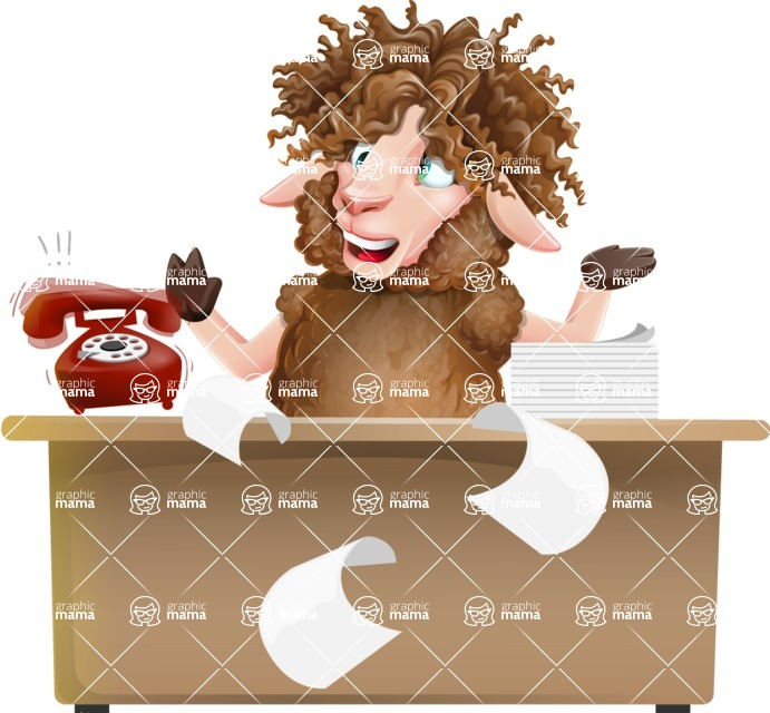Cartoon Sheep Vector Character - Stressed out