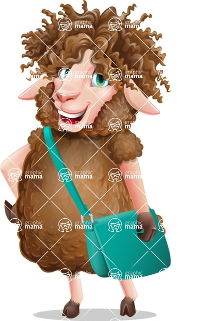 Cartoon Sheep Vector Character - Traveling