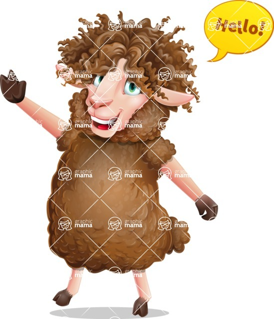 Cartoon Sheep Vector Character - Waving for Hello with a hand
