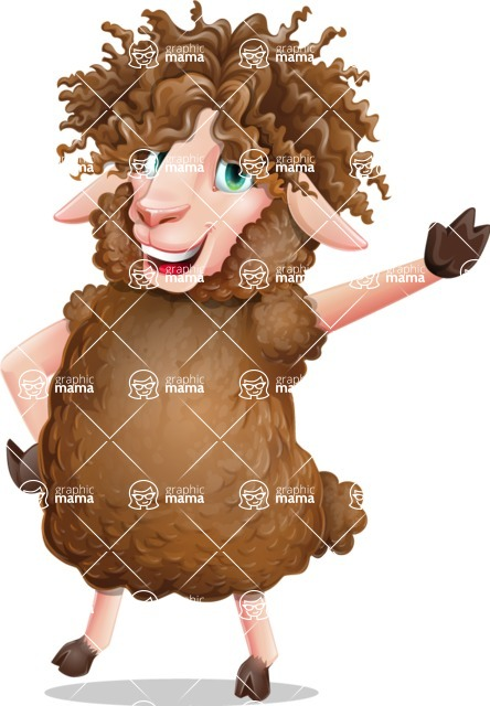 Cartoon Sheep Vector Character - Waving