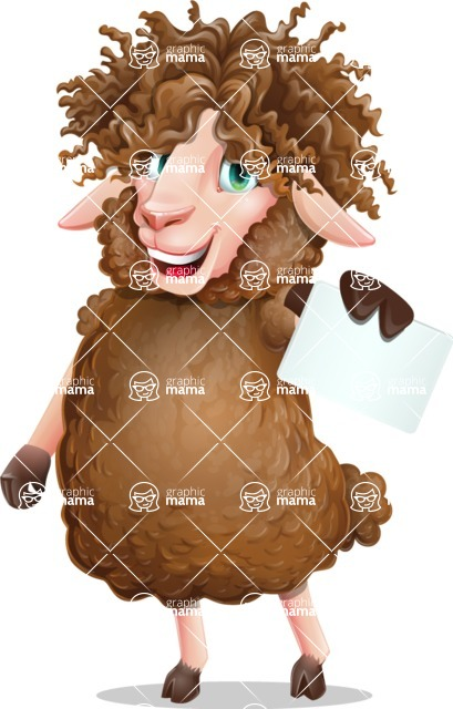 Cartoon Sheep Vector Character - with a Blank Business card