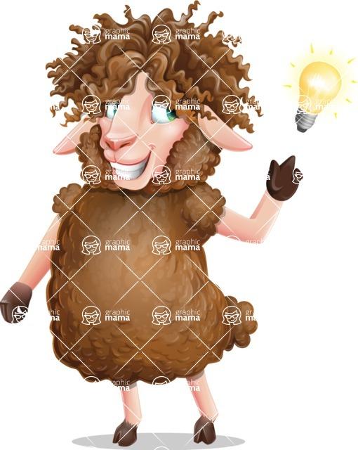 Cartoon Sheep Vector Character - with a Light bulb