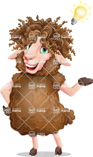 Cartoon Sheep Vector Character - with an Idea