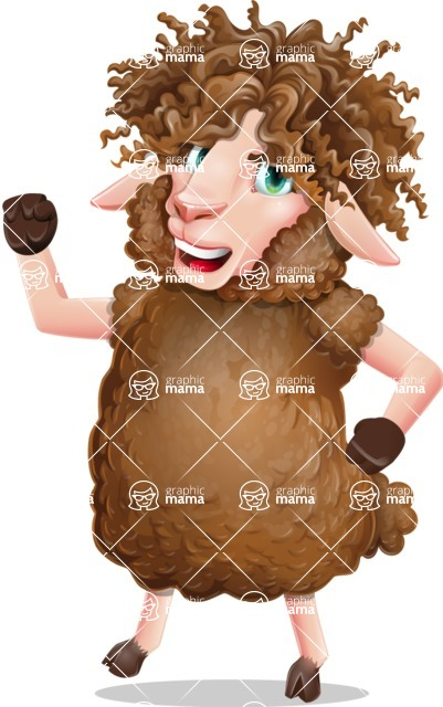 Cartoon Sheep Vector Character - with Angry face