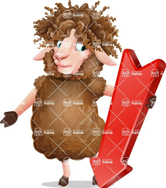 Cartoon Sheep Vector Character - with Arrow going Down