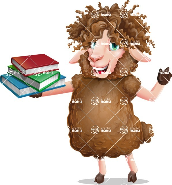 Cartoon Sheep Vector Character - with Books