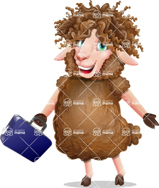 Cartoon Sheep Vector Character - with Briefcase