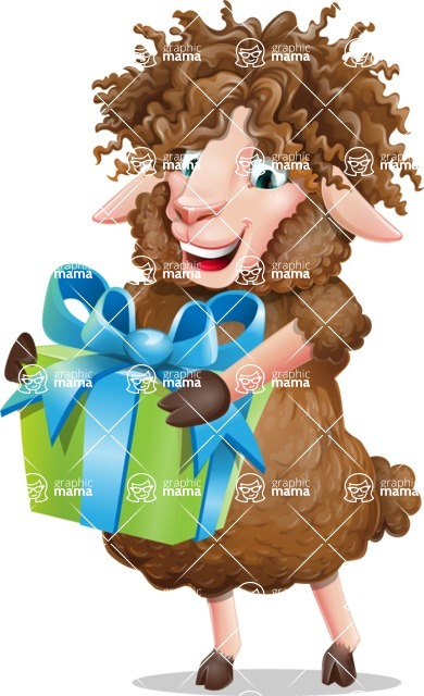 Cartoon Sheep Vector Character - with Gift box