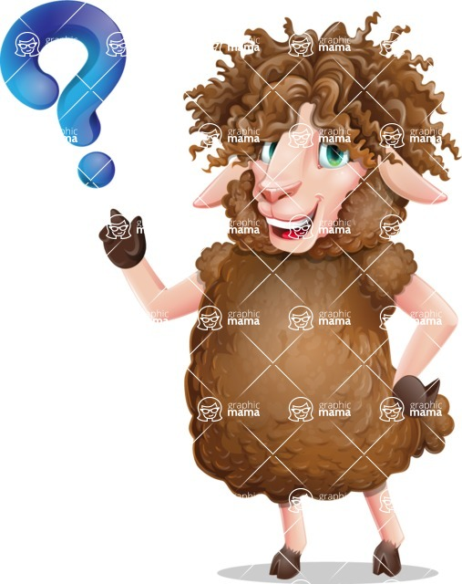 Cartoon Sheep Vector Character - with Question mark