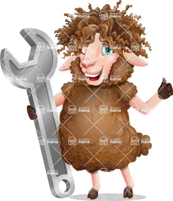 Cartoon Sheep Vector Character - with Repairing tool wrench