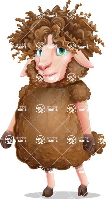 Cartoon Sheep Vector Character - with Sad face