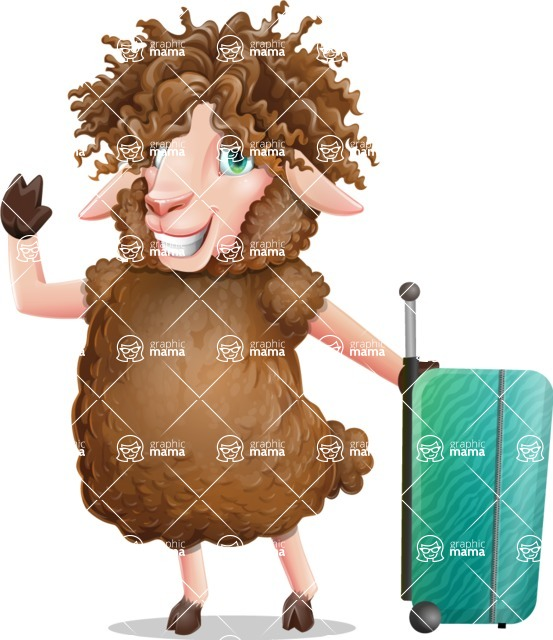 Cartoon Sheep Vector Character - with Suitcase