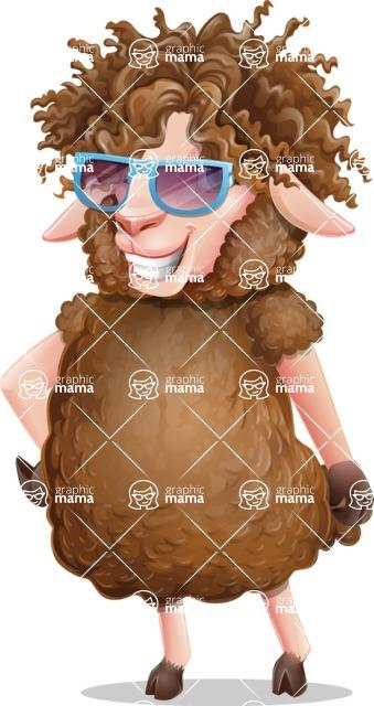 Cartoon Sheep Vector Character - with Sunglasses
