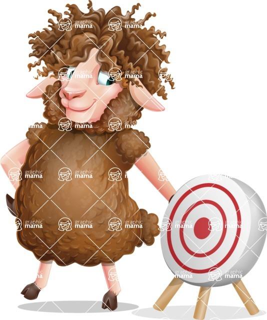 Cartoon Sheep Vector Character - with Target