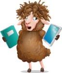Cartoon Sheep Vector Character - Choosing between Book and Tablet