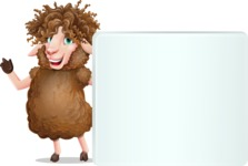 Cartoon Sheep Vector Character - Holding a Blank sign and Pointing