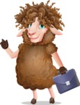 Cartoon Sheep Vector Character - Holding a briefcase