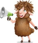 Cartoon Sheep Vector Character - Holding a Loudspeaker