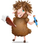 Cartoon Sheep Vector Character - Holding a notepad with pencil