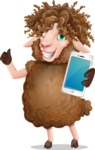 Cartoon Sheep Vector Character - Holding a smartphone