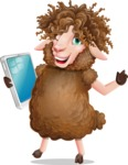 Cartoon Sheep Vector Character - Holding an iPad