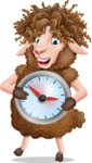 Cartoon Sheep Vector Character - Holding clock