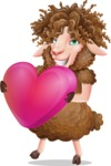 Cartoon Sheep Vector Character - Holding heart