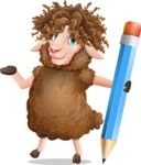 Cartoon Sheep Vector Character - Holding Pencil